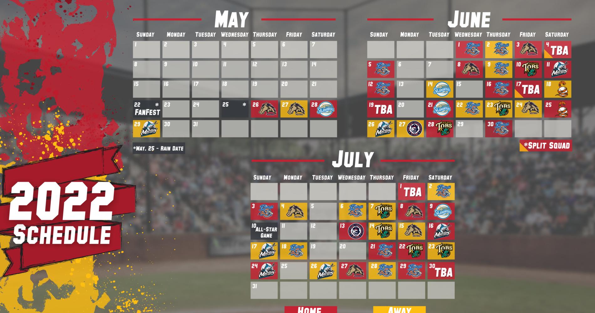 Tri-City Chili Pepper's 2022 Season Schedule